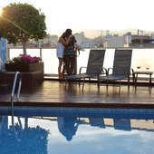 Piscine, coucher de soleil Hôtel Ciutat Barcelona